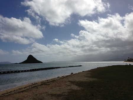 Mokolii, also known as Chinaman s Hat, a well-known landmark island off the windward coast of Oahu, Hawaii photo
