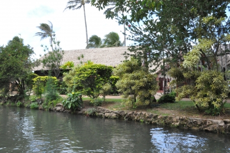 lds: OAHU, HAWAII - DEC 26  Polynesian Cultural Center in Oahu, Hawaii, as seen on December 26, 2012  The center is owned by the The Church of Jesus Christ of Latter-day Saints  LDS Church
