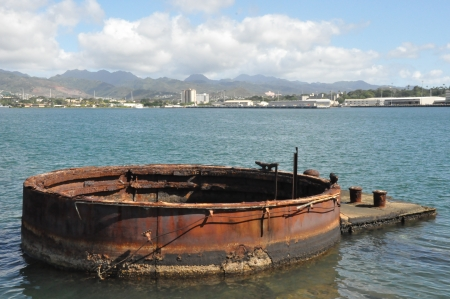 Gun turret at the USS Arizona Memorial at Pearl Harbor, Hawaii