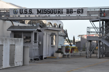 firepower: USS Missouri Battleship at Pearl Harbor in Hawaii Editorial