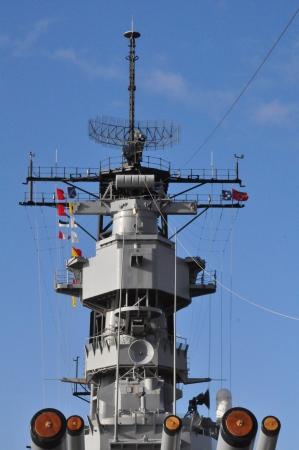 firepower: USS Missouri Battleship at Pearl Harbor in Hawaii Stock Photo