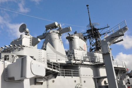 destroyer: USS Missouri Battleship at Pearl Harbor in Hawaii Editorial