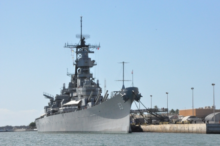 USS Missouri Battleship at Pearl Harbor in Hawaii