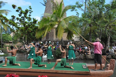 tradition: Students perform traditional dance at a canoe pageant at the Polynesian Cultural Center in Oahu, Hawaii