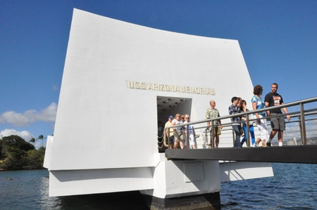 USS Arizona Memorial at Pearl Harbor in Honolulu, Hawaii
