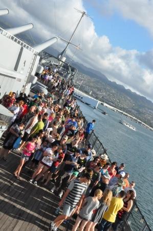 Tourists at the USS Missouri Battleship at Pearl Harbor in Hawaii