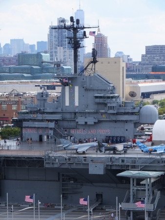 NEW YORK CITY - SEPTEMBER 8  Intrepid museum at Hudson shore, on September 8, 2013 in Manhattan, New York  USS Intrepid is one of 24 Essex-class aircraft carriers built during WWII for the US Navy