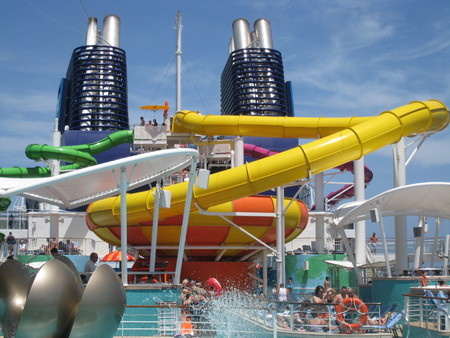 MIAMI, FLORIDA - SEPT 6  Passengers enjoying the water slides and pool aboard the Norwegian Epic as seen on September 6, 2010  When built in 2010, it was the third largest cruise ship in the world