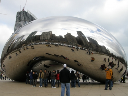 CHICAGO - FEB 14  Cloud Gate sculpture in Millennium Park on February 14, 2009, in Chicago  This public sculpture is the centerpiece of the AT T Plaza in Millennium Park in the Loop community area