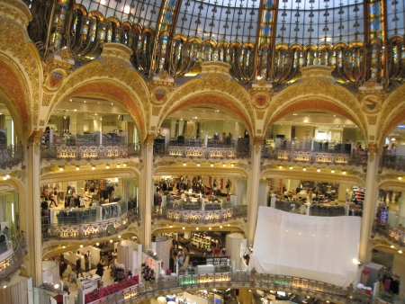 flagship: PARIS, FRANCE - SEPTEMBER 1   Inside the famous Galeries Lafayette  upmarket French department store company, with its brand stand stalls, as seen on September 1, 2008 in Paris, France