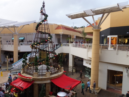 Christmas decor at Fashion Valley Mall, the largest mall in San Diego, California