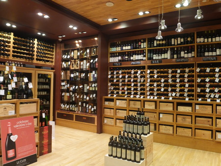 store interior: Wine store at Dubai Duty Free at the International Airport in Dubai, UAE