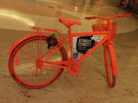 Bicycle exhibit at the Street Con urban art festival at Al Ghurair Centre in Dubai, UAE