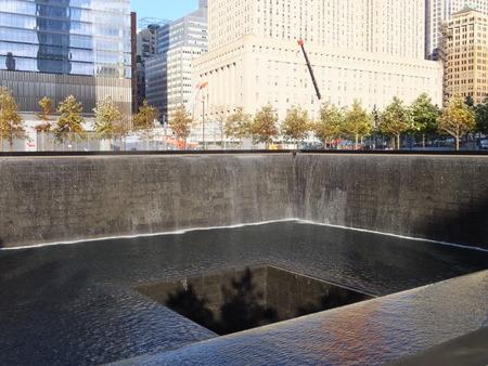 9 11: 911 Memorial at World Trade Center Ground Zero in New York City Editorial