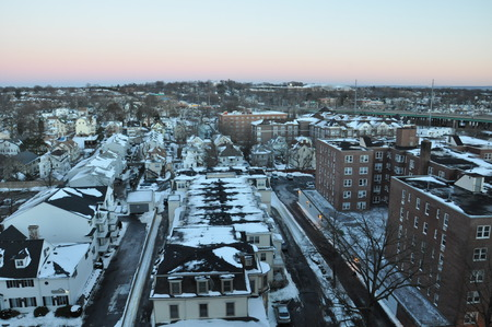 a blizzard: Winter Storm Juno (Blizzard of 2015) in Stamford, Connecticut Stock Photo