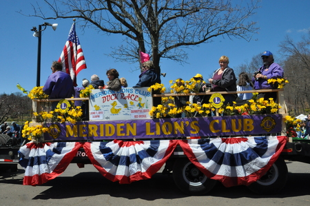 involves: MERIDEN CT  APR 25: Parade at the 37th Annual Daffodil Festival in Meriden Connecticut on April 25 2015. Each year the festival involves 300 volunteers and 3000 people march in its parade.