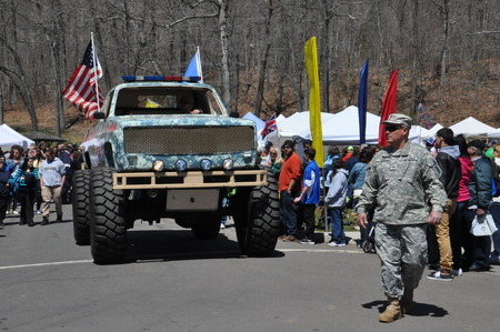 MERIDEN CT  APR 25: Parade at the 37th Annual Daffodil Festival in Meriden Connecticut on April 25 2015. Each year the festival involves 300 volunteers and 3000 people march in its parade.