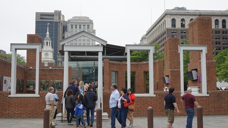 cultural artifacts: PHILADELPHIA - MAY 9: The Liberty Bell Center housing the symbol of American independence in Philadelphia, on May 9, 2015. The bell originally cracked when first rung after arrival in Philadelphia.