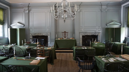 PHILADELPHIA, PA - MAY 10: Restored Assembly Room with Rising Sun Chair of George Washington at the Independence Hall in Philadelphia, Pennsylvania, as seen on May 10, 2015. Stock Photo - 44938023