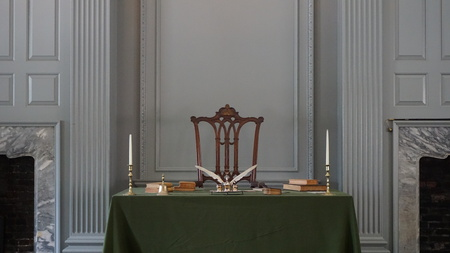 PHILADELPHIA, PA - MAY 10: Restored Assembly Room with Rising Sun Chair of George Washington at the Independence Hall in Philadelphia, Pennsylvania, as seen on May 10, 2015.