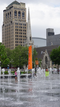 programmable: PHILADELPHIA, PA - MAY 10: Dilworth Park Fountain 185x60 feet in Philadelphia, on May 10, 2015. It is covered by a thin scrim of water with programmable 3-foot-high spouts creating dancing waters.