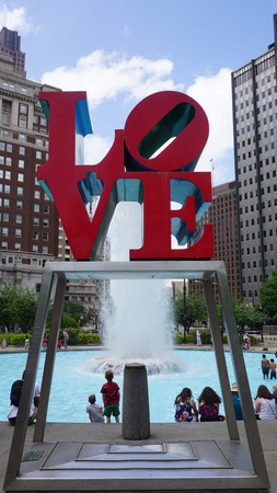 nicknamed: PHILADELPHIA, PA, USA - MAY 10: The Love Park named after the Love statue in Philadelphia, on May 10, 2015. The park is nicknamed for Robert Indianas Love sculpture that was first placed in 1976