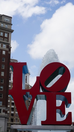 brotherly love: PHILADELPHIA, PA, USA - MAY 10: The Love Park named after the Love statue in Philadelphia, on May 10, 2015. The park is nicknamed for Robert Indianas Love sculpture that was first placed in 1976