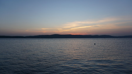 hudson: Sunset on the Hudson River in New York State Stock Photo