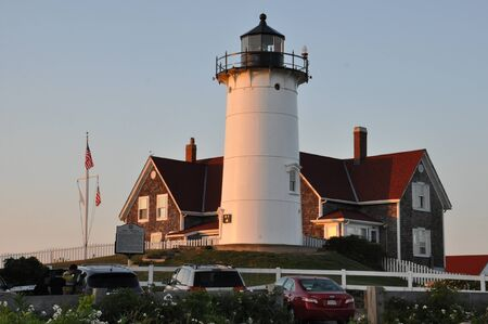 cod hole: Nobska Lighthouse at Woods Hole on Cape Cod in Massachusetts, USA Editorial