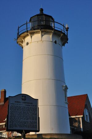 cod hole: Nobska Lighthouse at Woods Hole on Cape Cod in Massachusetts, USA Stock Photo