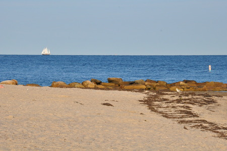 lobster boat: Falmouth Beach in Cape Cod, Massachusetts