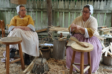 Basketmaker in Colonial Williamsburg in Virginia Editorial