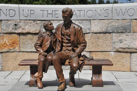 liberate: Abraham Lincoln Statue with son at the American Civil War Center in Richmond, Virginia