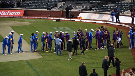 cricketer: The 2015 Cricket All-Stars Exhibition Match at Citi Field in New York, on November 7. 2015. Sachins Blasters played Warnes Warriors.