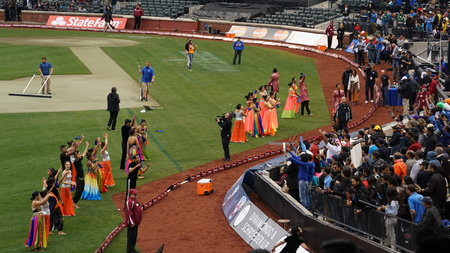 outfield: Halftime show at The 2015 Cricket All-Stars Exhibition Match at Citi Field in New York, on November 7. 2015. Sachins Blasters played Warnes Warriors. Editorial