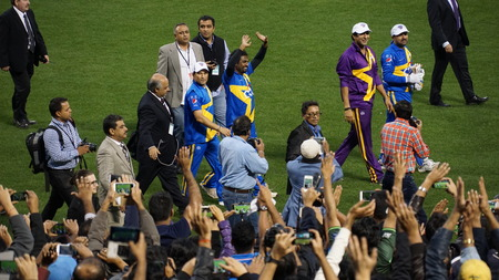 The 2015 Cricket All-Stars Exhibition Match at Citi Field in New York, on November 7. 2015. Sachin's Blasters played Warne's Warriors.