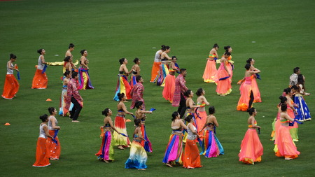 blasters: Halftime show at The 2015 Cricket All-Stars Exhibition Match at Citi Field in New York, on November 7. 2015. Sachins Blasters played Warnes Warriors. Editorial