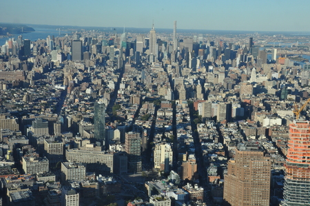 world trade: View from One World Trade Center in Manhattan, New York Stock Photo