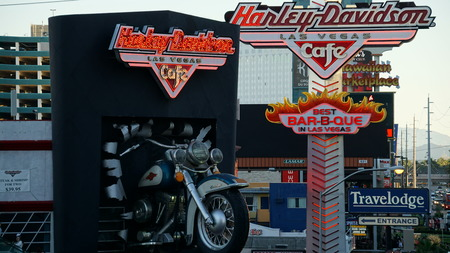 harley davidson: Harley Davidson Cafe in Las Vegas Editorial