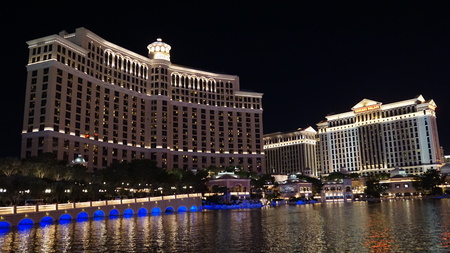 Bellagio Hotel & Casino fountains in Las Vegas Editorial