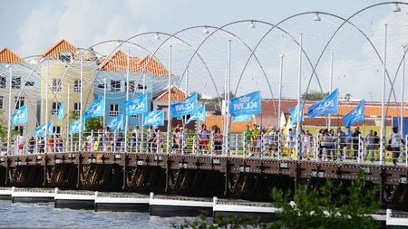 Queen Emma Pontoon Bridge in Willemstad, Curacao