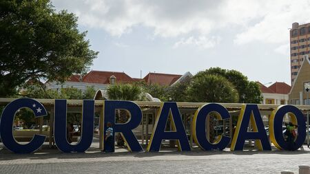curacao: CURACAO Sign in Willemstad, Curacao Editorial