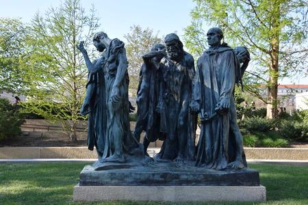 calais: Les Bourgeois de Calais sculpture by Auguste Rodin at the Hirshhorn Sculpture Garden in Washington, DC