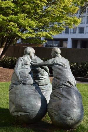 Last Conversation Piece sculpture by Juan Munoz at the Hirshhorn Sculpture Garden in Washington, DC