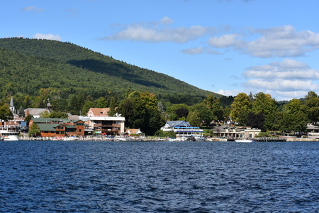 View of Lake George from the Village, in New York State Stock Photo