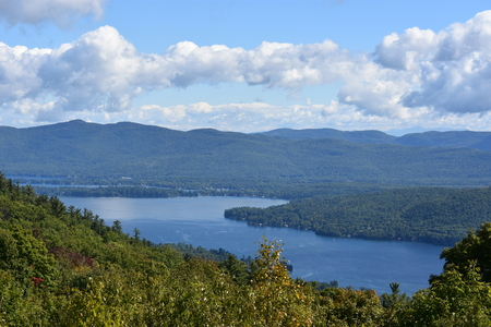 View of Lake George, from Prospect Mountain, in New York State Stock Photo