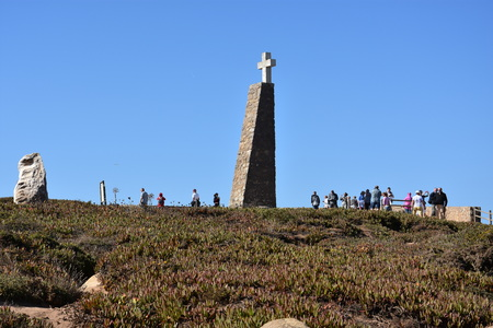 declaring: Monument declaring Cabo da Roca as the westernmost extent of continental Europe, at Roca Cape near, Sintra, Portugal Editorial