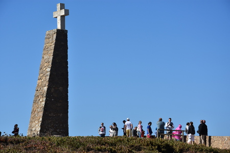 declaring: Monument declaring Cabo da Roca as the westernmost extent of continental Europe, at Roca Cape near, Sintra, Portugal Stock Photo