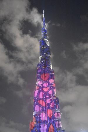 The LED lights show at Burj Khalifa in Dubai, UAE 版權商用圖片