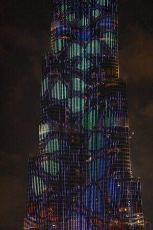 The LED lights show at Burj Khalifa in Dubai, UAE Stock Photo